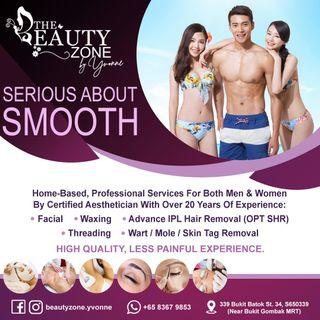 Facial, Waxing, Advance IPL Hair Removal, Threading, Ear Candling & Wart/Mole/Skin Tag Removal For Men & Women