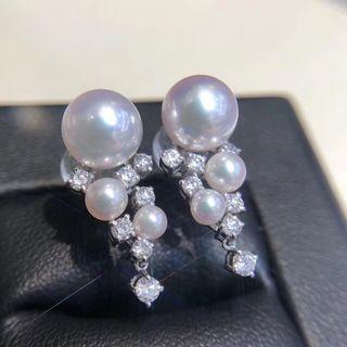 Akoya珍珠鑽石耳環