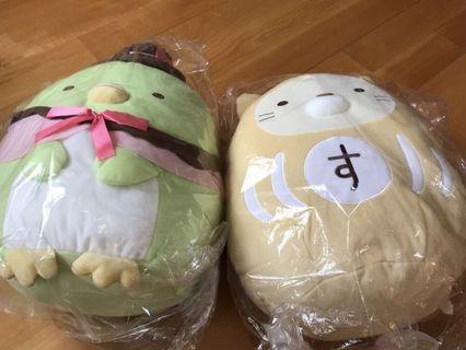 日本景品Summikko Gurashi 角落生物最新大型小雀及招財貓公仔一對(全新未開封)