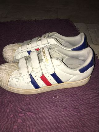 0eaf615b7 Adidas Red and Blue Stripes Superstars