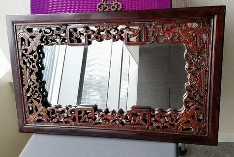 Twin Mirror with Chinese Wooden Frame