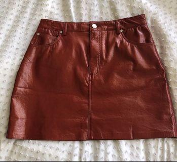 Pull and Bear PU Red Skirt