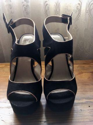 Betts Black And Gold Suede Heels