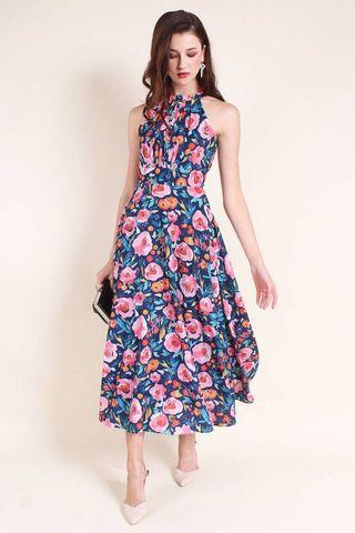 ad66f86fa9e Neonmello Madebynm Elsa Runche Neck Maxi dress in Navy Blossom