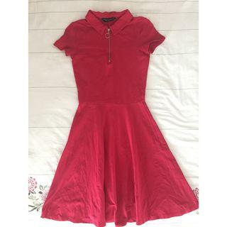 Dorothy Perkins Red Shirt Collar Flare Dress
