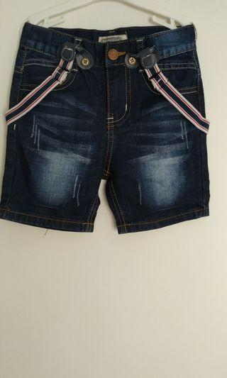 Jeans denim pendek dgn stripes