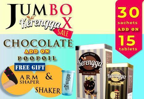 Kerengga Chocolate Shake and Poopoil 15 Tablets Combo