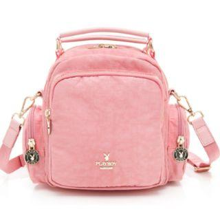 PLAYBOY後背包可斜背/手提 皺皺時代系列 -粉色