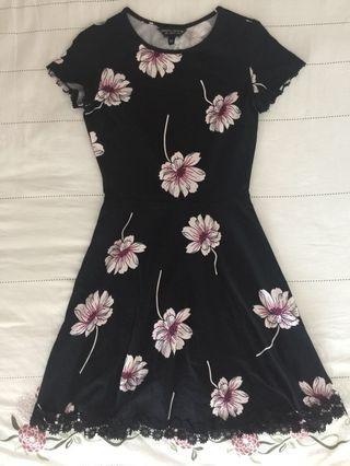 Dorothy Perkins Floral Prints Black Flare Dress