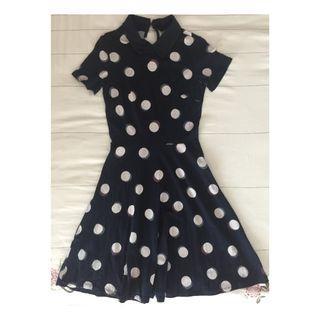 Dorothy Perkins Dots Black Flare Skater Dress