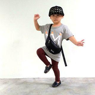 Hip Hop Cap + Crown Oversize T Shirt + Sling Bag + Brown Tights + Slip In Loaf Shoe ( Boys / Girls Daily Fashion Wear )