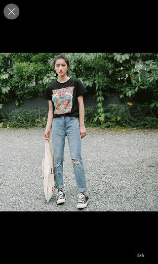 Harajuku Ripped Jeans in Light/ Dark Blue [2 colours available]