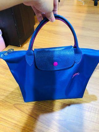 Longchamp 小手提包藍粉撞色