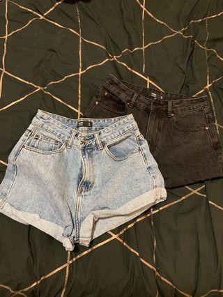 Black and blue denim shorts set