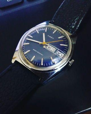 Vintage 1980 Timex Marlin Series Date Day Blue Dial