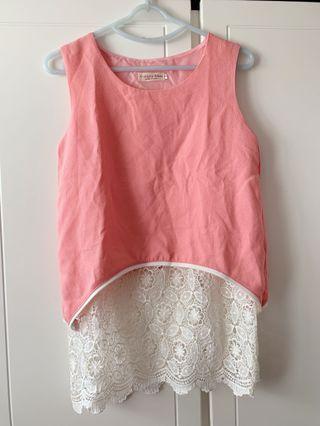 粉紅色Lace長背心