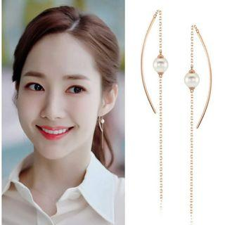 Delicate Rose Gold 925 silver Zirconia Pearl Earring ❬KY❭