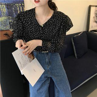 Outfit chiffon top sale 清倉大減價 波點雪紡上身衫