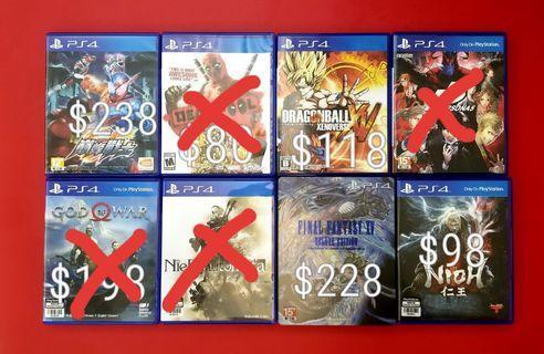 ⚠️(PS4二手遊戲)⚠️仮面超人巔峰戰士(中文版)/$238 Dead Pool (英文版)$80/龍珠異戰(日文版)$118 / Persona 5 (中文版)$178 / God of war (中文版)$198 / Nier (中文版)$178 / Final Fantasy 15 限定版(中文版)$228 / 仁王(中文版)$98