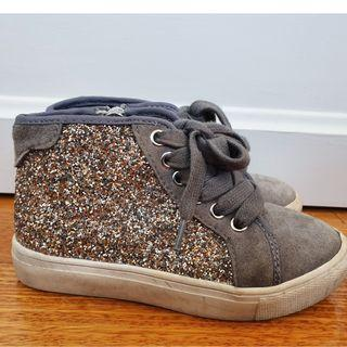 COUNTRY ROAD Girls Glitter Hi-Tops Shoes Sz 26 Aust 8 in GUC