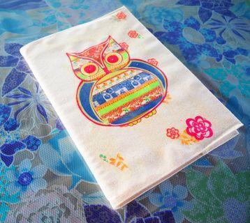 花樣貓頭鷹布書衣含一本空白筆記本