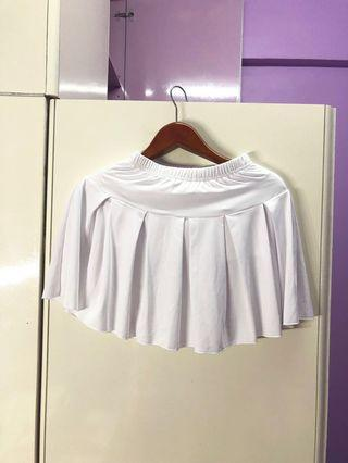 White skirt with safety pants