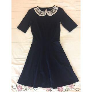 Dorothy Perkins Dark Blue Round Lace Neckline Flare Dress