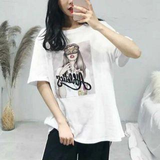 T-shirt Print oversize 韓國時裝