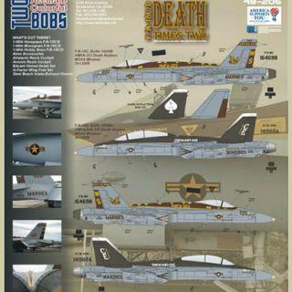 Two Bobs Decal 48 Scale 48-206  F/A-18C/D Hornets Death Times Two Brand New Decals Excellent Condition