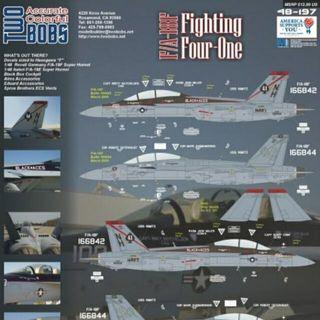 Two Bobs Decal 48 Scale 48-197  F/A-18F Hornets VFA-41 Black Aces Fighting Four One Brand New In Excellent Condition