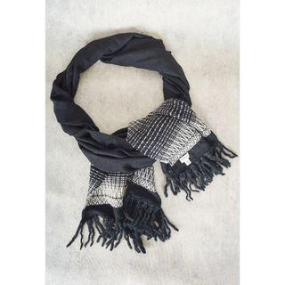 Saint Laurent Black with White Wool/Cotton Pattern Scarf (Pre-Owned)