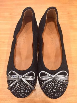 f2645e2245f3 Staccato Crystal Embellished Black Flats 35
