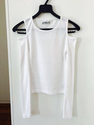 Cotton On White Long Sleeves Cold Shoulder Top