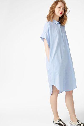 Monki Oversized Shirt Dress in Bright Sky Blue