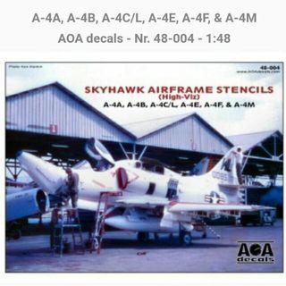 AOA Decals  1/48  A-4C Skyhawk  Airframe Stencils  (High Viz) Decals Brand New In Excellent Condition