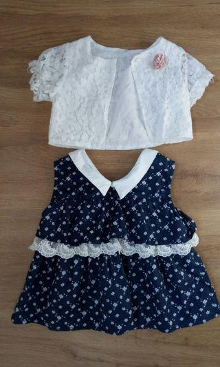 🚚 Baby girl floral navy blue dress