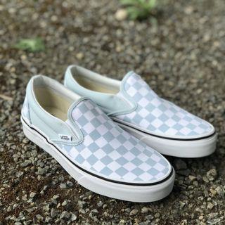 Vans Classic Slip-On Checkerboard Baby Blue/White US Men's 7 8 9 10