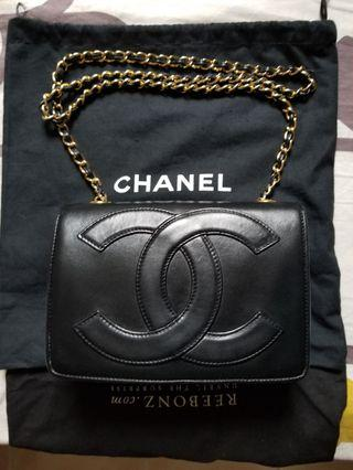 最低價 Chanel Vintage big cc logo Chain Bag 羊皮金鍊袋 可買可換