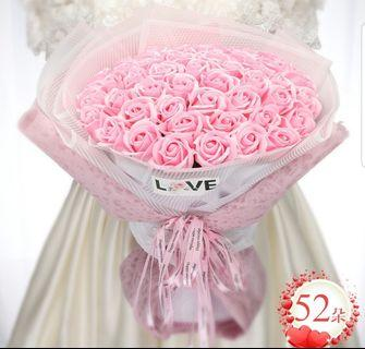 52 Pink Roses Bouquet / Soap Roses - Valentine day / Anniversary / Proposal / Birthday / Farewell / Graduation / Mother's day