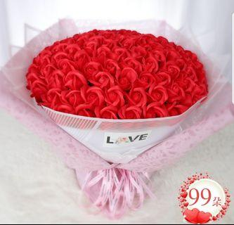 99 Red Roses Bouquet - Valentine day / Anniversary / Proposal / Birthday / Graduation / Farewell