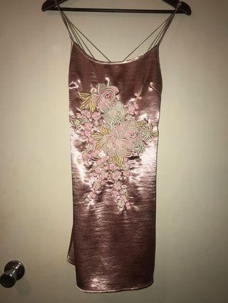 LENNI silk dress baby pink boho