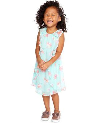 Oshkosh Aqua Floral Ruffle Front Dress