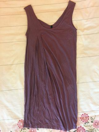 Benetton Purple Sleeveless Cotton Dress