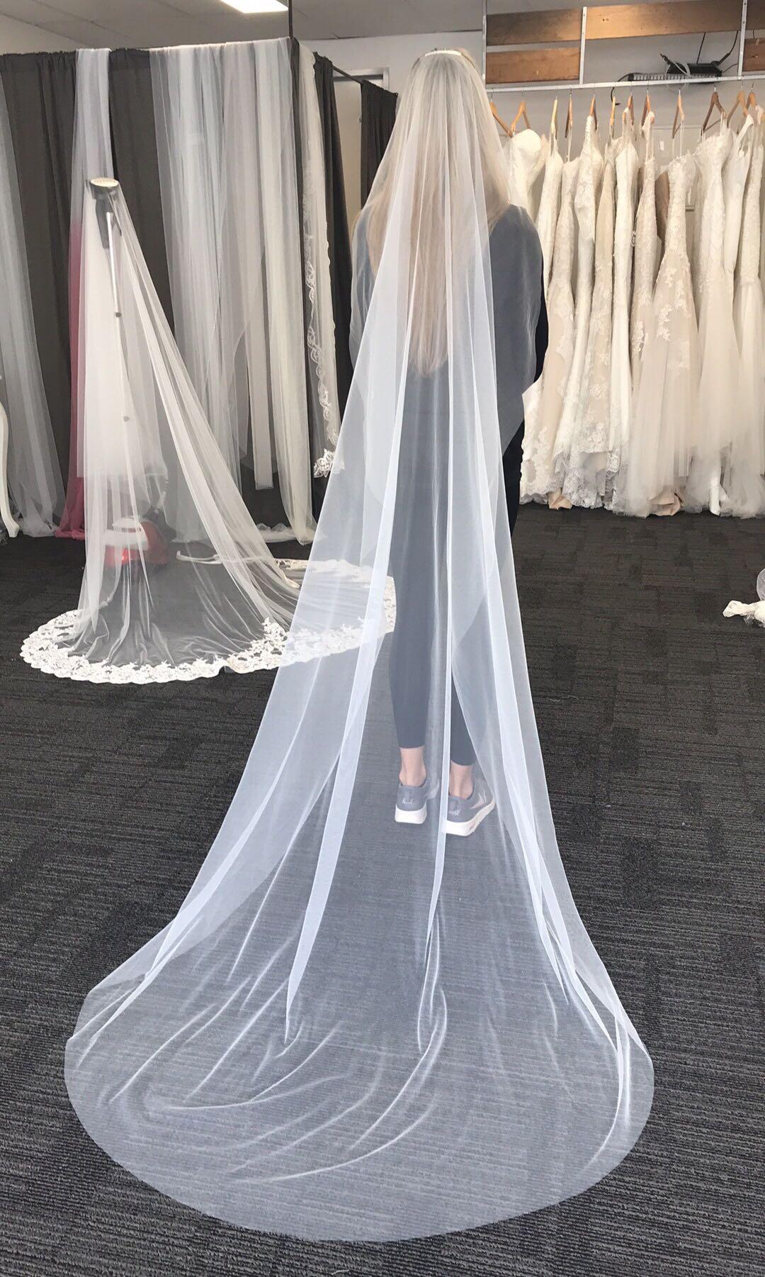 1tier modern wedding veil in cathedral length $100 made with french silk tulle- new