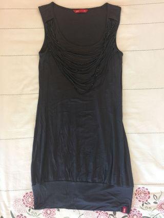 edc Dark Grey Casual Chic Cotton Dress