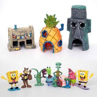 SpongeBob SquarePants Figurine and House Ornaments for Aquarium Fish Tank