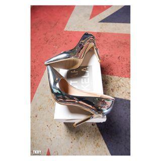 【TKRY】韓版亮銀色尖頭細高跟鞋
