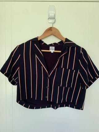PERFECT STRANGER striped button-up crop