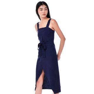 Jass Overlap Midi Dress (Navy Blue) By The Editor's Market