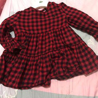 🚚 Polo黑紅格子長版衣